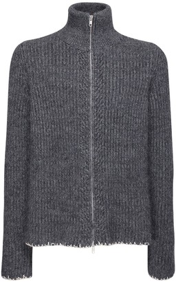 Maison Margiela Wool Blend Turtleneck Zip Sweater