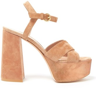 Gianvito Rossi Crossover-front 70 Platform Suede Sandals - Nude