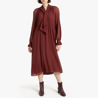 La Redoute Collections Pleated Midi Dress with Long Sleeves and Pussy-Bow