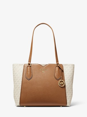 MICHAEL Michael Kors Mae Medium Pebbled Leather and Logo Tote Bag