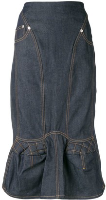 Marine Serre denim straight skirt