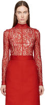 Givenchy Red Lace Mock Neck Blouse