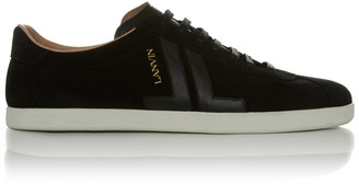 Lanvin Leather-Trimmed Suede Sneakers