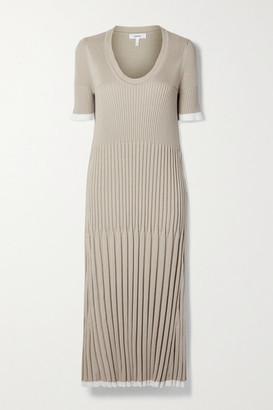 CASASOLA Pleated Ribbed Silk And Cotton-blend Midi Dress - Sand