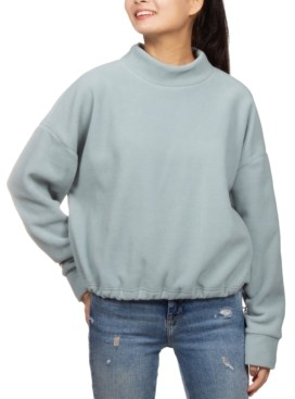 Hippie Rose Juniors' Mock-Neck Fleece Bungee-Hem Sweatshirt