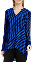 Vince Camuto Swept Check High Low Blouse