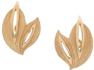 Susan Caplan Vintage 1960's Trifari cut-out leaf clip-on earrings