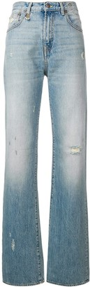 R 13 Flared Distressed Jeans