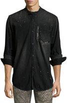 PRPS Washed Denim Mandarin-Collar Shirt, Black