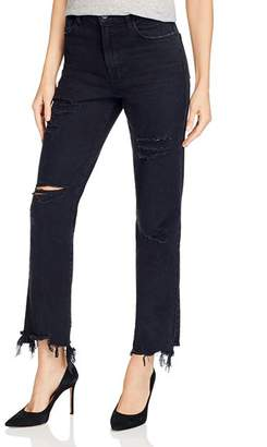 J Brand Jules High-Rise Ankle Straight Jeans in Undercover Destruct
