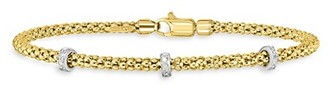 Saks Fifth Avenue Made In Italy 14K Yellow White Gold Diamond Bracelet