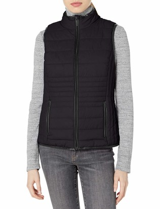 Andrew Marc Women's Packable Vest with Faux Leather Trim