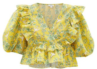 Rhode Resort Elodie Floral-print Ruffled Cotton Cropped Top - Yellow Print