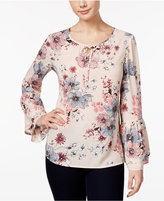 Style&Co. Style & Co Floral-Print Ruffle-Sleeve Top, Only at Macy's