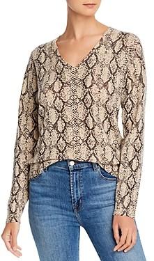 Minnie Rose V-Neck Snakeskin-Print Cashmere Sweater