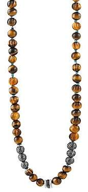 Tateossian Men's Formentera Sterling Silver & Tiger's Eye Beaded Necklace