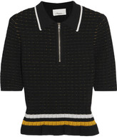 3.1 Phillip Lim Striped Smocked Stretch-cotton Top - Black