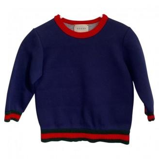 Gucci Blue Cotton Knitwear