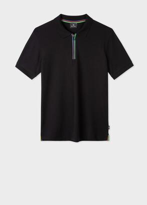 Paul Smith Men's Black Cotton-Blend 'Sports Stripe' Zip Polo Shirt