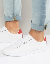 Pull&Bear Perforated Sneakers In White With Red Trim