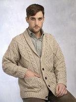 Aran Crafts 100% Merino Wool Aran Cardigan With Leather Buttons, Colour
