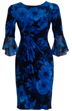 Connected Flounce-Sleeve Floral-Print Sheath Dress