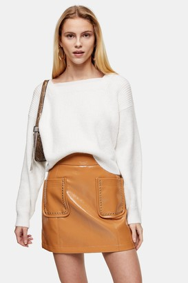 Topshop Ivory Super Soft Square Neck Sweater
