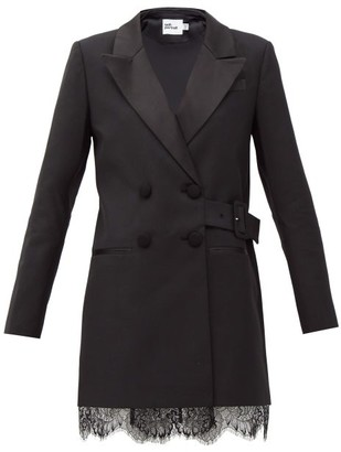Self-Portrait Double-breasted Crepe Blazer Dress - Black