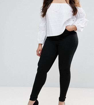 Asos DESIGN Curve Sculpt me high waisted premium jeans in clean black