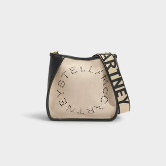 Stella McCartney Stella Logo Mini Crossbody Bag In Beige Eco Canvas