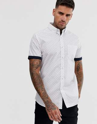 New Look geo print shirt in white-Navy