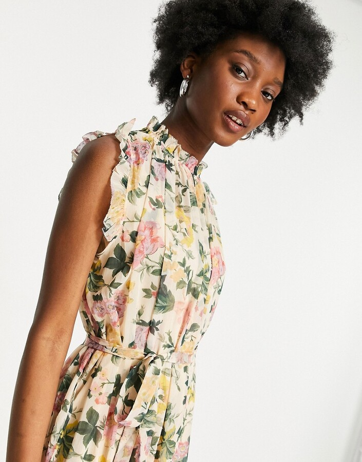 Thumbnail for your product : Hope & Ivy high neck flutter sleeve midaxi dress in printed floral