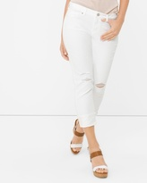 White House Black Market Curvy Distressed White Skinny Crop Jeans