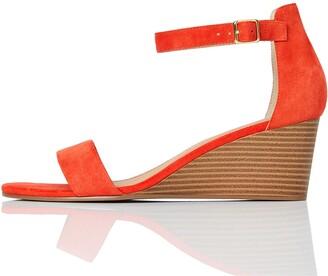 Find. Wedge Leather Women's Heels Sandals Open Toe Sandals Black (Black Black) 3 UK (36 EU)