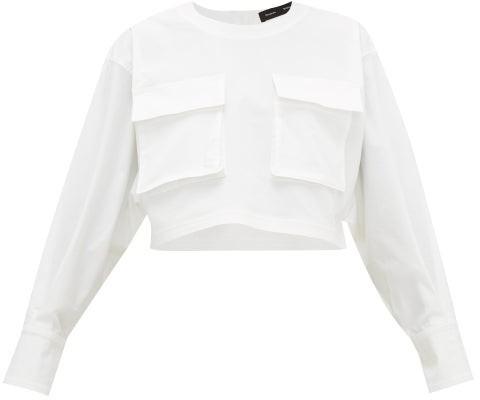 Proenza Schouler Cargo-pocket Long-sleeve Cotton-blend Top - Womens - White