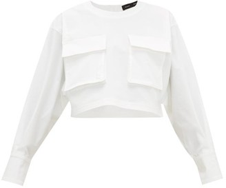 Proenza Schouler Cargo-pocket Long-sleeve Cotton-blend Top - Womens - White