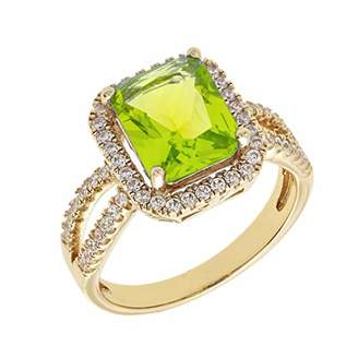 ELEGANT CONFETTI Women's 18K Yellow Gold Plated Light Green CZ Simulated Cushion Diamond Halo Statement Cocktail Ring Size 6