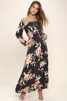Billabong Crystal Ball Washed Black Floral Print Maxi Dress