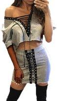 Glamaker Women's Lace Up Crop Top Mini Skirt Set 2 Pieces Outfits Mini Dress