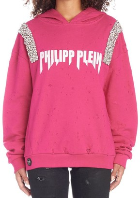 Philipp Plein Rock Distressed Bejeweled Hoodie