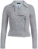 Twin-Set Twinset Beige Crochet Biker Jacket