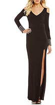 Jodi Kristopher Cold Shoulder Jeweled-Cuff Long Dress