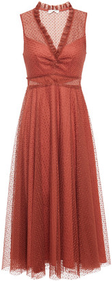 Sandro Cassy Ruffle-trimmed Embroidered Tulle Midi Dress