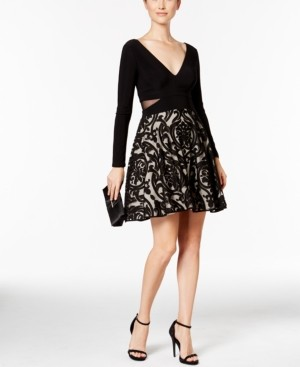 Xscape Evenings X by Double-v Damask Fit & Flare Dress