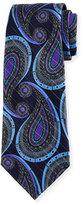 Ermenegildo Zegna Paisley Metallic Jacquard Tie, Navy