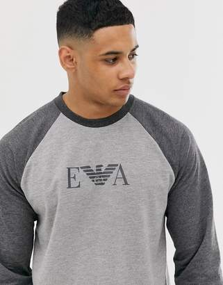 Emporio Armani long sleeve lounge top-Grey