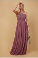 Thumbnail for your product : Little Mistress Bridesmaid Luanna Mauve Embellished One-Shoulder Maxi Dress