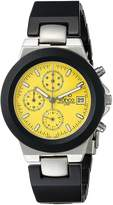 Gino Franco Men's Round Chronograph Stainless Steel Case with Black Aluminum Bezel and Bracelet Watch YL