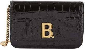 Balenciaga B embossed leather purse with chain