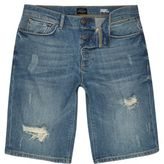River Island MensBlue wash distressed slim fit denim shorts